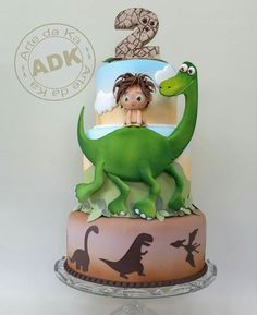 Disney Pixar's The Good Dinosaur Cake 3-Tier Birthday Cake - For all your cake decorating supplies, please visit craftcompany.co.uk