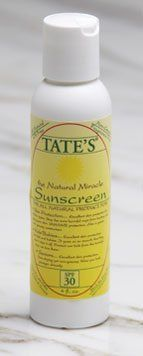 Tate's The Natural Miracle Sunscreen - SPF 30 (4 oz.) by Tate's. $31.48. A natural sunscreen with an SPF of 30, all natural, oil free, non-greasy. 4 fluid ounces.  Uses: Excellent skin protection for all skin types. Stop the suns harmful rays from hurting and aging your skin. UVA/UVB protection. Also a great non-greasy moisturizer. Safe for children, babies and folks of all ages. Also repels mosquito's, gnats, ticks, chiggers, deer flies, stable flies, black flies, fle...