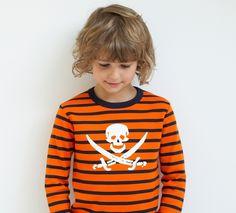 Pirate Orange & Navy Striped shirt