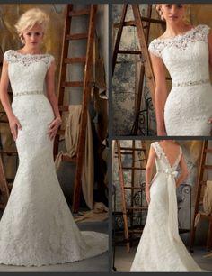 2014 neu kommen Palast elegant sticken rückenfreie Spitze Meerjungfrau Hochzeitskleid BDF037