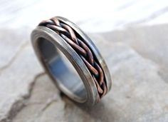 Custom Made Viking Wedding Band, Braided Ring Two Tone, Rustic Mens Ring, Unique Mens Ring Rustic