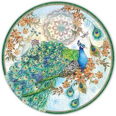 Punch Studio Royal Peacock Paper Plates, 2 Sizes