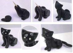 Afbeeldingsresultaat voor how to make cat from fondant Polymer Clay Cat, Polymer Clay Animals, Polymer Clay Projects, Cat Fondant, Fondant Animals, Fondant Cakes, Fondant Bow, Fondant Tutorial, Easy Cake Decorating