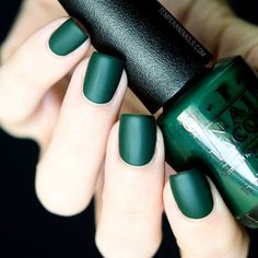 Browse nail polish swatches and nail art designs featuring OPI Christmas Gone Plaid Opi Nails, Matte Nails, Matte Green Nails, Acrylic Nails, Polish Nails, Nail Art Designs, Dark Nails, Super Nails, Nail Polish Colors