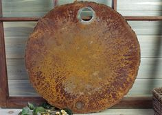 "Large Metal Rusted Lid 22"", Wall Art, Rustic Wall Hanging, Urban Industrial Decor, Found Objects, Rusted Metal Lid, Large Flat Metal #9-1 by DogFaceMetal on Etsy"