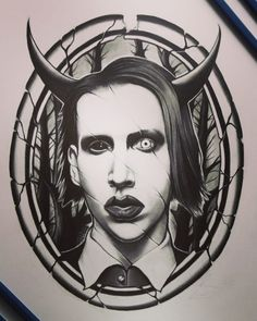Marilyn Manson - done with graphite Arte Marilyn Manson, Marilyn Manson Tattoo, Small Canvas Paintings, Satanic Art, Band Pictures, Archer Characters, Goth Art, Punisher Logo, Tattoo Sketches