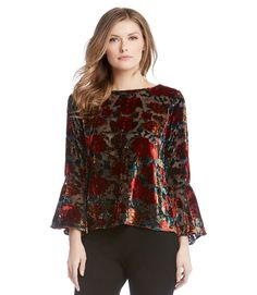 d115df231b9d BELL SLEEVE TOP- Embrace vintage beauty with this bell sleeve top crafted  from soft burnout velvet. Karen Kane