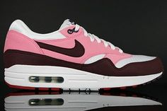 Nike Air Max 1 shoes women Rose Mahogany white red HOT SALE! HOT PRICE!