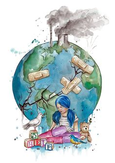 Save Environment Posters, Save Environment Poster Drawing, Global Warming Poster, Global Warming Drawing, Save Water Poster Drawing, Save Earth Drawing, Sad Paintings, Meaningful Paintings, Planet Drawing