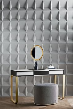 Selene by Pietro Russo. Vanity desk in white and black wood. Satin brass metal parts. Bevelled mirror with Nero Marquinia marble base. With LED light.