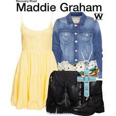 Inspired by Jessica Sula as Maddie Graham on Recovery Road - Shopping info! Jessica Sula, Tv Show Outfits, I Feel Pretty, Character Costumes, Recovery, Yves Saint Laurent, Style Inspiration, My Style, Polyvore