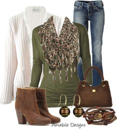 """warm cozy"" by amabiledesigns on Polyvore. White Sweater, Green Top, Brown Boots & Purse with Blue Jeans and Accessories."