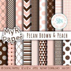 """Digital paper: """"Pecan Brown & Peach"""" pack for #scrapbooking, invite, card – perfect for mother's day, valentine's day, wedding, love   50% DI SCONTO PER GLI ORDINI SUPERIORI... #patterns #design #graphic #digitalpaper"""