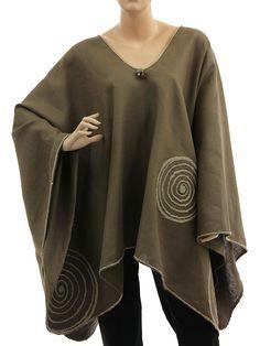 Boho artsy wide linen poncho overtop with circles in brown L-XXXL - Artikeldetailansicht - CLASSYDRESS Lagenlook Art to Wear Women's Clothing