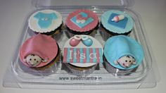 Homemade customized, personalized, fondant Baby Shower theme handcrafted eggless 3D cupcakes at Pune