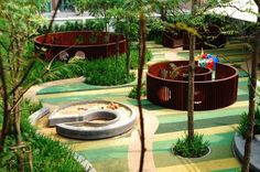 Architecture <b>Architecture.</b> Shrewsbury International School Landscape Architecture. Contemporary Landscape, Landscape Design, Desert Landscape, B Architecture, Playground Design, Modern Playground, Outdoor Playground, International School, Garden Landscaping