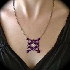 Tatted Pendant Necklace - Victoriana - Purple and Brass What a fantastic use of tatting glad to see someone keeping the skill alive. Tatting Necklace, Tatting Jewelry, Bead Jewellery, Beaded Jewelry, Handmade Jewelry, Pendant Necklace, Needle Tatting, Tatting Lace, Crochet Belt