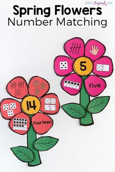 Math activity: This flowers number matching activity is perfect for spring! A fun spring theme math activity for your math center! Math Activities For Kids, Math For Kids, Teaching Math, In Kindergarten, Preschool Activities, Spring Activities, Addition Activities, Number Activities, Math Crafts