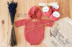 kit de punto pelele y capota para bebé