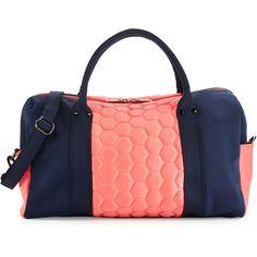 Neiman Marcus Honeycomb Colorblock Neoprene Duffle Bag ($48) ❤ liked on Polyvore featuring bags, duffel bags, honey comb, zip bags, neiman marcus bags and color block bag