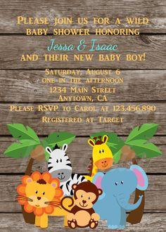 Jungle Baby Shower Invites Zoo Animal Baby By PeekabooPenguin