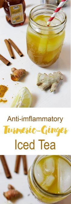 Easy to make anti-inflammatory Turmeric Ginger Iced Tea