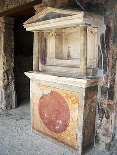 """Lararium"" (Altar for household gods) - Marble columns and stucco, ""The House of the ""Golden Cupids"" at Pompeii"