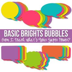 This set of clipart has 36 speech bubbles to coordinate with all Basic Brights papers, frames, and elements. These bubbles are BIG. They are approximately 8x8 depending on the shape for the speech bubble and were designed to easily fill a piece of paper. •6 styles •6 colors •All elements created at 300 dpi. •Sign up for
