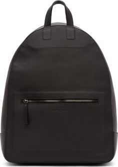 Maison Martin Margiela Black Matte Leather Backwards Backpack