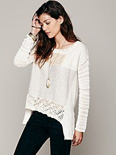 Crochet Patched Pullover interesting body: