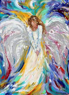 Original Angel PALETTE KNIFE oil painting by Karensfineart