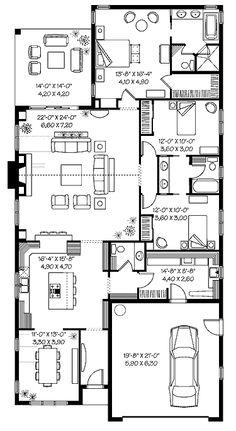 Three Bedroom Florida (HWBDO65254) | Florida House Plan from BuilderHousePlans.com; nice great room; 2,122 sq ft