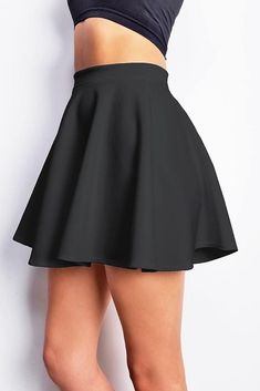 Classic High Waist Plain Skater Flared Skirts Stretch Stretchy Short Mini Skirt  #Unbranded #SkaterSkirt