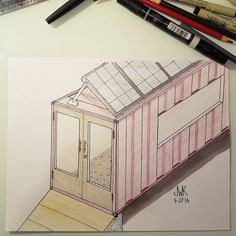 Day 22.  Industrial Modern Minimalistic Tiny Home. #colors #house #build #construction #modern #minimal #tiny #home #tinyhouse #solar #future #summer2016 #designsketch #design #architecture #artsy #industrial #industrialdesign #training #learning #perspective #persistence #sun #live #shipping #dream #container #concrete #willsworks #createimagineexplore by jwillkennedy