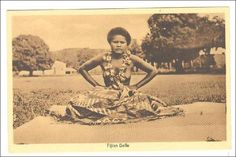 Fijian Belle , Topless native girl Close-up , 1910s