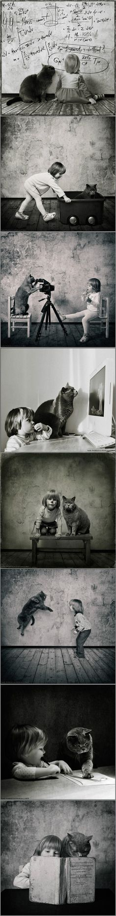 'Once upon a time a cat had a girl and a girl had a cat... And together they were two.'  Photography by Andy Prokh.