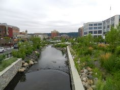 River #daylighting in Saw Mill River Park in Downtown Yonkers, New York