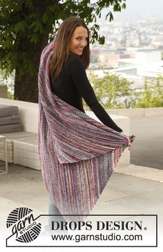 "Free pattern: Knitted DROPS blanket in garter st in ""Fabel"". ~ DROPS Design"