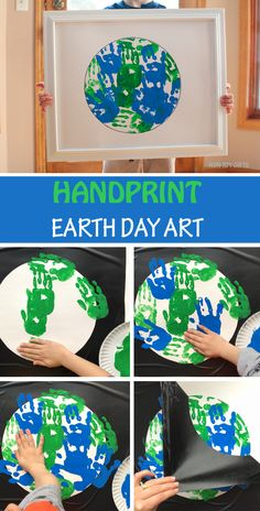 Handprint Earth Day art project for kids. Perfect Earth classroom craft for toddlers and preschoolers. #EarthDay #handprint