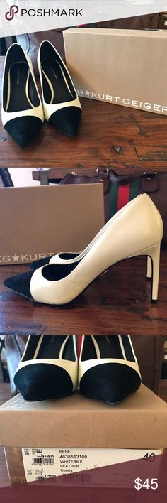 Kurt Geiger white/black leather Heels Sz 40 Gorgeous Kurt Geiger white leather with black suede tip heels. Originally purchased for my wedding ensemble but it wasn't the right shade of white. Who knew there were different shades to white? Very minimal wear and I take care of my shoes. Kurt Geiger Shoes Heels