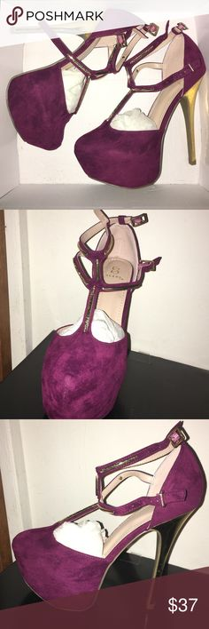 Lelaina Wine colored T-Strap Heels Perfect for work, never worn, brand new. Shoe Dazzle Shoes Heels