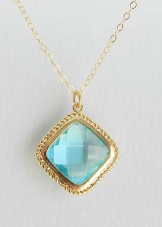 Aquamarine gold framed necklace by BipAndBop on Etsy, $31.75