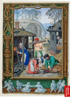 The December miniature depicts both indoor and outdoor tasks. One woman holds a pan to catch the blood from a fattened pig being slaughtered. In an outhouse another woman appears to be kneading bread dough, which is then carried across to an oven in the building on the left, where a third woman prepares firewood.