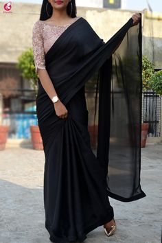 Saree blouse designs - Black satin georgette saree custom made designer chantilly lace blouse womens wedding party wear sari sarees – Saree blouse designs Black Saree Blouse, Saree Blouse Neck Designs, Fancy Blouse Designs, White Saree, Saree Jacket Designs, Saree Blouse Patterns, Indian Blouse, Dress Designs, Sari Bluse