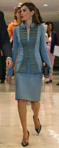 23 Sep 2014 - Climate Summit, New York. Felipe Verela double wool crepe grosgrain jacket and dress set