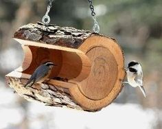 Rustic log bird feeder