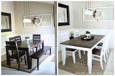 dining table makeover before and after dark top with light white rh pinterest com