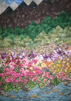 Art Quilt Summer Flowers Stream and Mountains by TahoeQuilts