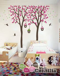 Cute and dreamy tree decal with stunning vibrant colors and cute birdhouses, great addition to your baby's room.