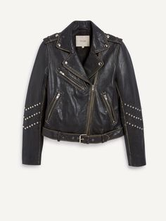 BERNY studded leather biker-style jacket. Borrowed from men's fashion, the design features a tailored collar and shoulder tabs adorned with press studs, an adjustable waistband, a double-breasted zip fastening at the front and piped zip pockets on the chest and at the sides. Its long sleeves are decorated with rows of domed studs. With its aged-effect calfskin, it will give any outfit a rock yet retro vibe!